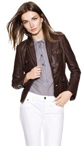 Tory Burch Softest Leather Military Chocolate Brown Leather Jacket