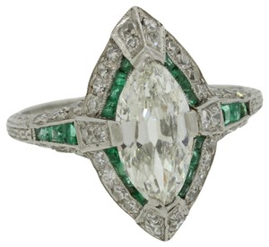 1920s Antique Art Deco Platinum 1.15ct Marquise Diamond & Emerald Engagement Ring