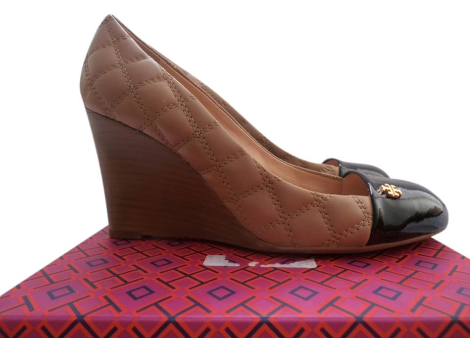 b57d7cbe6 Tory Burch Clay Beige Black Claremont Quilted Brazil Wedges Size US ...