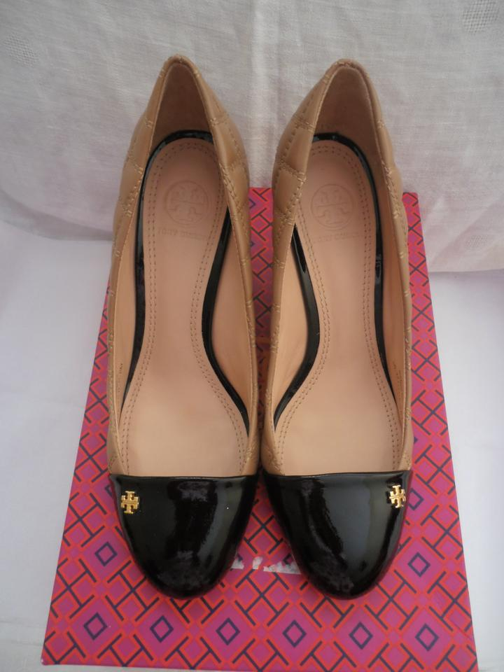 3a752eae89a0 Tory Burch Clay Beige Black Claremont Quilted Brazil Wedges Size US ...