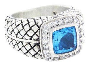 Scott Kay Scott Kay diamond & blue topaz ring in sterling silver.