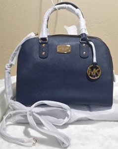 Michael Kors Vanilla Riey Signature Satchel in navy Gold