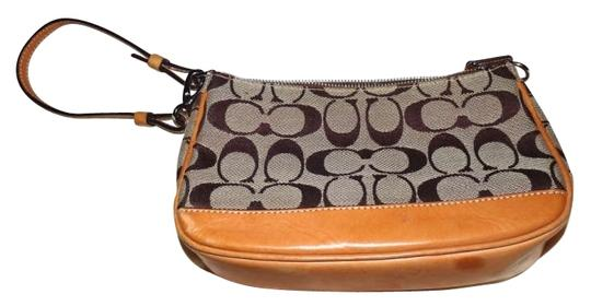 Preload https://item2.tradesy.com/images/coach-collection-browntan-signature-fabric-with-leather-trim-wristlet-182741-0-0.jpg?width=440&height=440