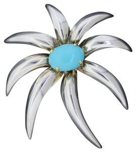 Tiffany & Co. Large Tiffany & Co Fireworks Sterling Silver 18k Gold Turquoise Brooch Pin