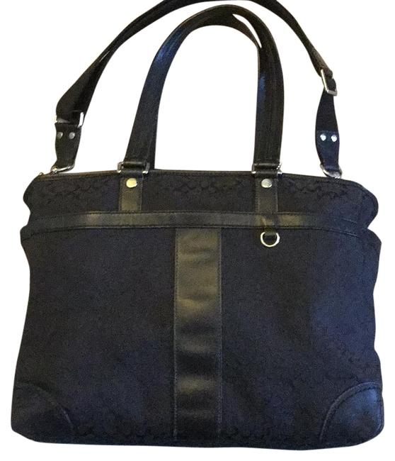 "Item - Signiture ""C"" Muti Funtional - Tote Baby Diaper Large Black Sig Cs / Silver Hardware Canvas / Leather Laptop Bag"