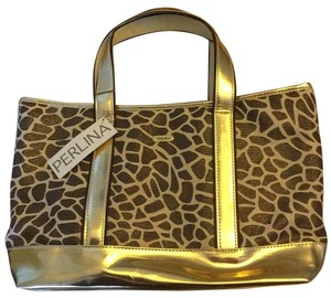 Perlina Tote in Tan/ Brown Gold Rim