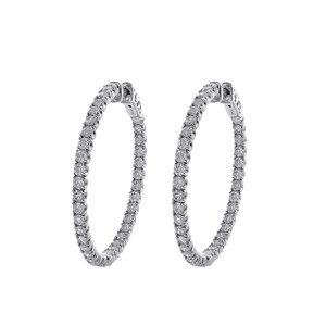 Avital & Co Jewelry Carat Micro Pave Hoop Earrings 14k White Gold