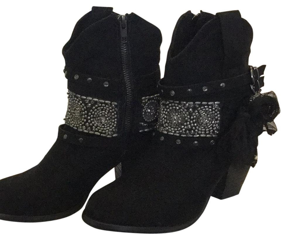 f3e6e7f8872 Black Silver Embellished Western Boots Booties Size US 7 Regular (M ...