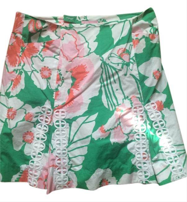 Lilly Pulitzer Eyelet Skirt green, pink, white