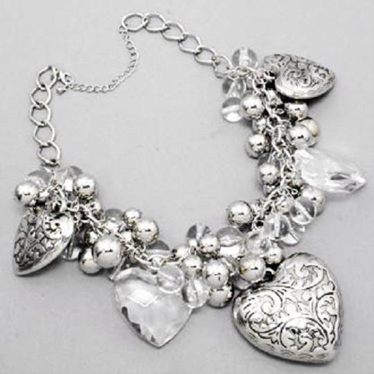 Other Chunky Rhodium Silver Crystal Heart Bib Collar Necklace Pendant Earring Set