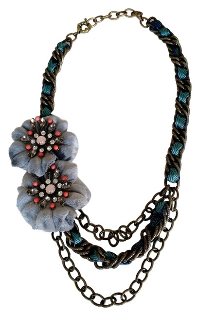 Item - Teal and Grey Fabric Flower Necklace
