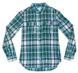 Mossimo Supply Co. Flannel Warm Button Down Shirt Green / Blue Plaid