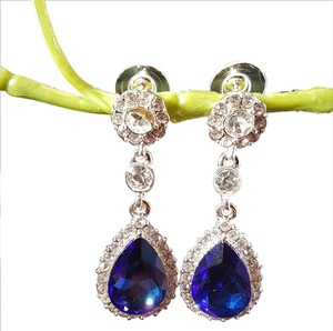 Brilliant Sapphire Blue Austrian Crystals Earrings