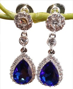 Brilliant Sapphire Blue Austrian Crystal Earrings