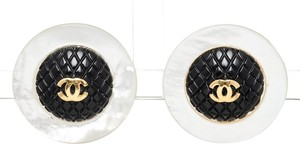 Chanel Chanel Black and White Disc CC Clip On Earrings