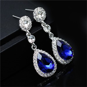 Sapphire Blue Austrian Crystal Tear Drop Earrings Pierced