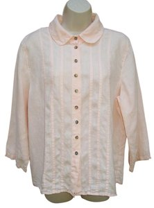 Color Me Cotton CLICK Linen Pin Tuck Peter Pan Summer Top Peach