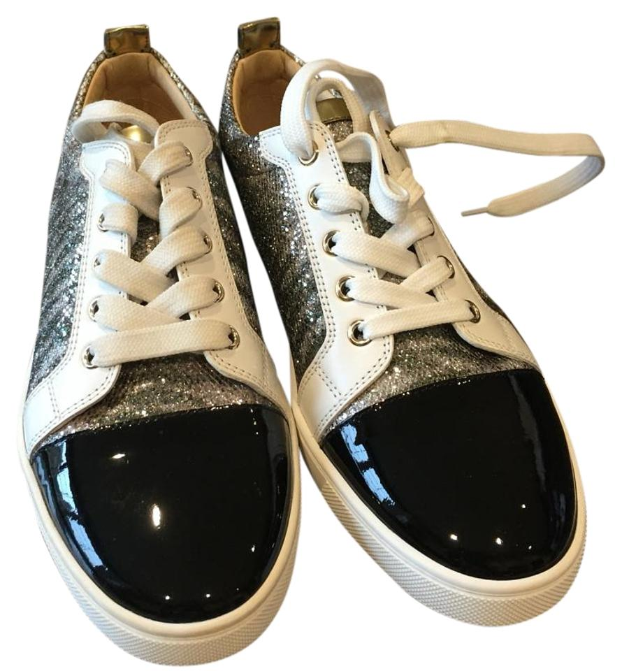 8e79ee8a969 Christian Louboutin Gondoliere Black Patent White Silver Glitter Trainers  Sneakers Flats 35.5 Sneakers Size US 5.5 Regular (M, B) 23% off retail