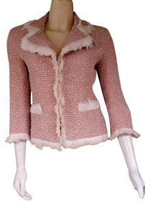 Douglas Hannant Boucle Feathers 3/4 Sleeves Pink Blazer