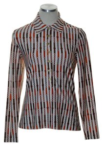 J.McLaughlin Long Sleeve Knit Polo Shirt Printed Silk Top Multicolor