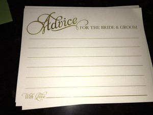 Ivory / Gold Custom Printed Wedding Guest Advice Cards