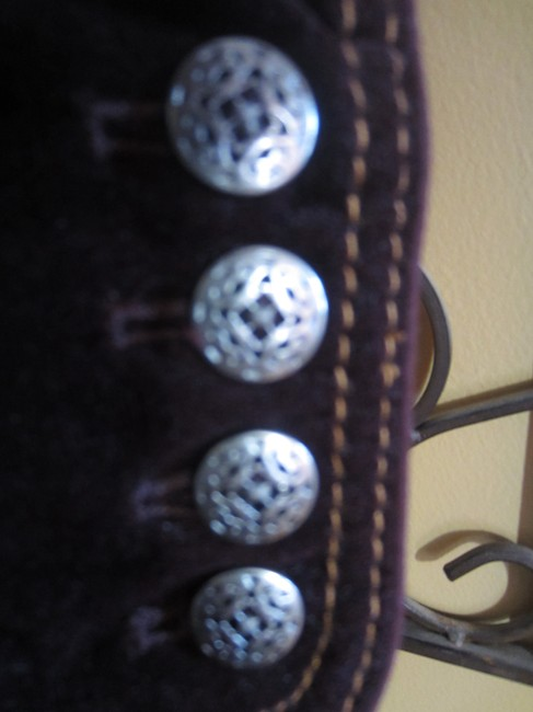 Chico's Stitching Detail Filigree Buttons Burgundy Jacket