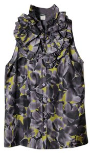 J.Crew Woven Silk Sleeveless Floral Top Gray