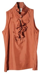 J.Crew Silk Woven Sleeveless Ruffle Top Rust Brown