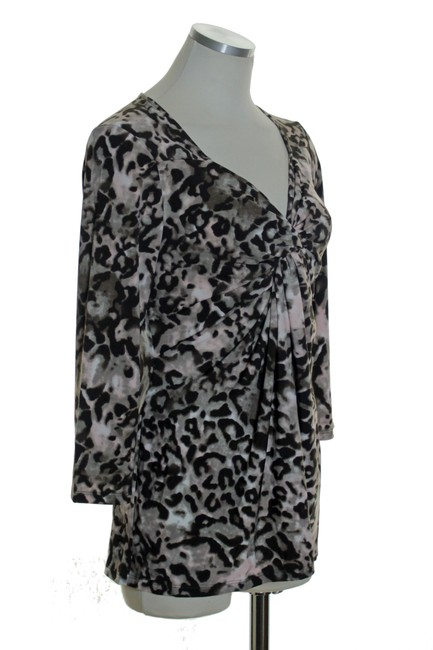 Boston Proper Knit 3/4 Sleeve Stretch Printed Top Brown Multi Image 1
