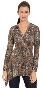 Alberto Makali Embellished Dress Wrap Sleeves Empire Waist Top browns/tans/black bronze animal