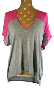Mason Silk Viscose V-neck Top Grey/Pink