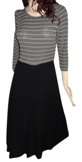 Item - Black and Gray Vintage Rayon 38 Inch Bust 55 Inch Length Mid-length Night Out Dress Size 6 (S)
