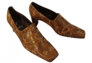 A. Marinelli Embroidered Leather Tan Pumps - item med img