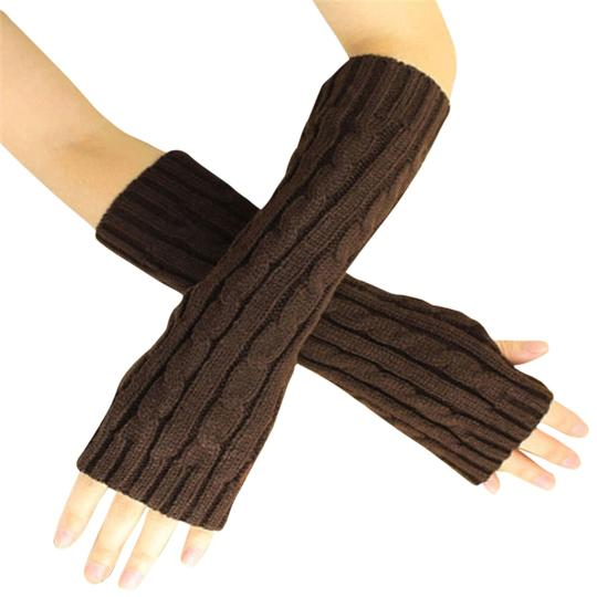 Unknown Brown knit fingerless arm warmer gloves free shipping