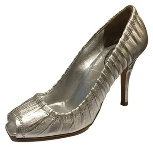 Prada Leather Peep Toe Silver Pumps