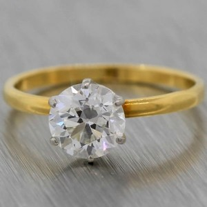 Tiffany & Co. Tiffany & Co 1.09ct Trans Brilliant Diamond Yellow Gold Wedding Engagement Ring
