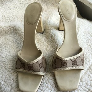 Gucci cream and brown Sandals