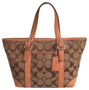 Coach Satchel Leather Canvas Tote in Brown Tan