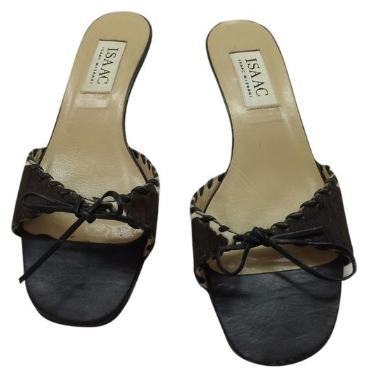 Isaac Mizrahi Cow Hide Kitten Heel Black & White Sandals