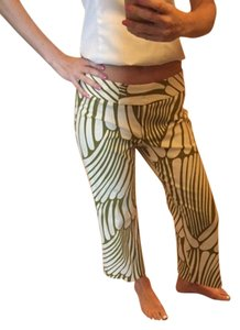 Trina Turk Capris Cream tan with green designs