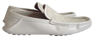 Gucci Men's Gg Interlocking Canvas White Flats