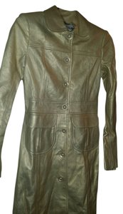 Laundry by Shelli Segal Trendy Full Length Never Worn gold Leather Jacket