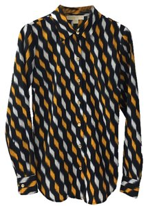 MICHAEL Michael Kors Blouse Print Longsleeve Button Down Shirt NAVY/ ORANGE/ WHITE