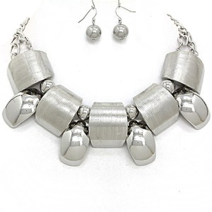 Other Cosmic Style Silver Rhodium Platedr Necklace and Earring Set
