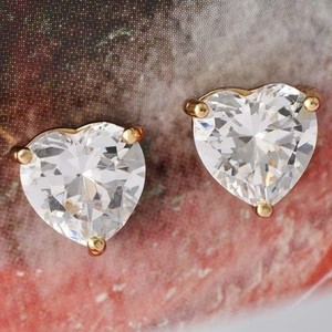 White Topaz Heart Cut Stud Pierced Earrings Free Shipping
