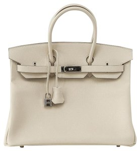 Hermès Birkin Epsom Leather Palladium 35 Birkin Tote in Craie