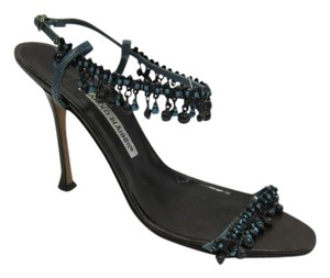 Manolo Blahnik Heels Open Toe Strappy Beaded Brown / Teal Pumps