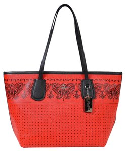 Coach Red Blacl Bandit Tote in Red, black/silver
