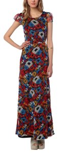 Floral Pattern, Red, Blue, Yellow, White Maxi Dress by KNT by Kova Knit Maxi Maxi