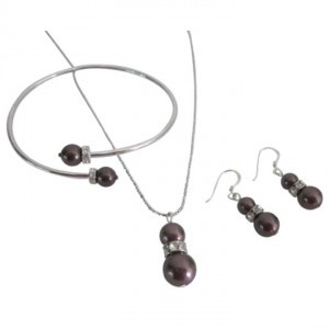 Burgundy Alluring Swarovski Pearls Prom Necklace Earrings Jewelry Set